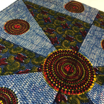 Kenyan Fabric--African Wax Print Fabric--Batik Style Print--Navy Blue, Red, and Yellow Pinwheels--African Wax Print Fabric by the PANEL
