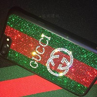 GUCCI Diamond Shining GREEN RED Crystal IPhonex 8plus popular iphone7p Case