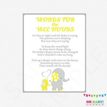 Yellow and Gray Elephant Baby Shower, Late Night Diapers, Words for the Wee Hours, Gender Neutral Baby Shower, Diaper Game, Printable, ELYG