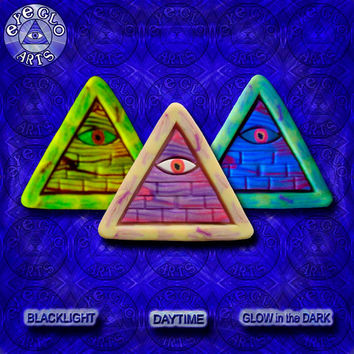 EyeGloArts Purple Yellow Psytrance GLOW in the dark jewelry rave candy Illuminati all seeing eye gold pyramid pendant clubwear