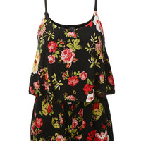 LE3NO Womens Sleeveless Ruffled Floral Print Romper