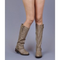 Qupid Relax-122 Vegan Leather Knee High Buckle Motorcycle Riding Boot TAUPE