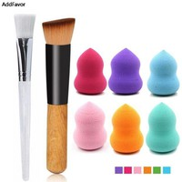 DCCKL6D AddFavor Beauty Makeup Set Professional Wooden Make Up Brushes Liquid Foundation Brush & Dry Wet Makeup sponge Puff Gourd Sponge