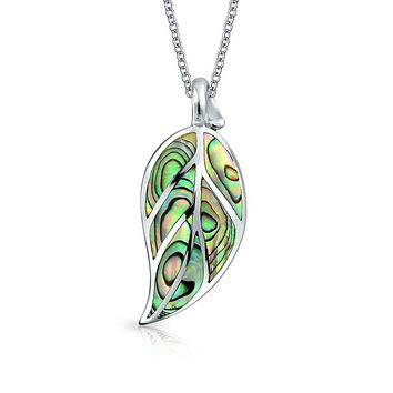 Large Leaf Dangle Pendant Abalone Shell Necklace 925 Sterling Silver