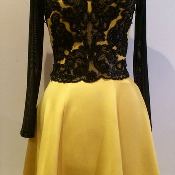 Yellow dress, Black lace appliques, party dress, evening dress, prom dress, cocktail dress