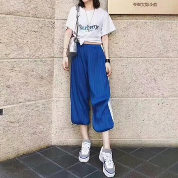 """Burberry"" Women Loose Casual Fashion Letter Embroidery Short Sleeve T-shirt Wave Stripe Leisure Pants Trousers Set Two-Piece Sportswear"