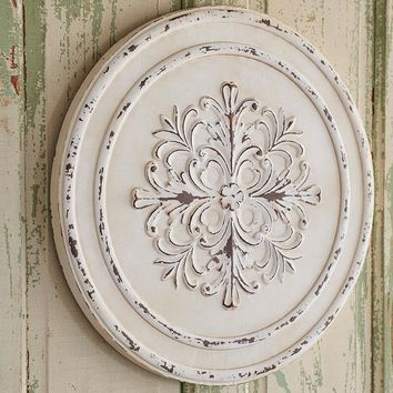 Distressed White Pressed Metal Medallion Wall Art -- 23-1/2-in