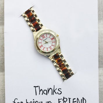 Leoprad Steel Band Golden Fashion Wrist Watch Unisex Girl Thanks Being My Friend Card Woman Watch