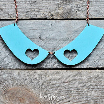 Cute wood blue Pendant collar with two hearts (laser cut & hand painted)