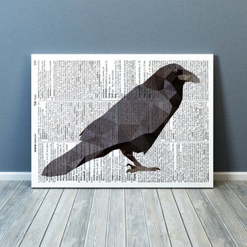 Raven poster Bird print Wall decor Geometric art TOA66-1