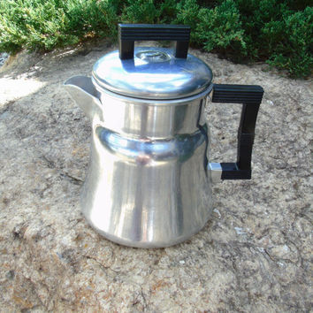 Wear Ever Tacuco Aluminum Coffee Pot Primitive Stove Top Drip Coffee Maker Camp Coffee Kettle Vintage 1940s Percolator Coffee Paraphernalia