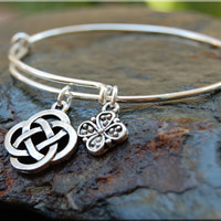 Celtic Knot Expandable Bangle bracelet, CelticJewelry, Irish Jewelry, Sterling Silver Celtic Bangle, stacking bangle, adjustable bangle