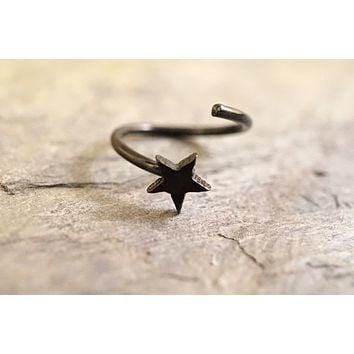 Black Star Nose Hoop Ring