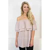 Sheer Lavender Off Shoulder Top