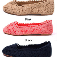 amazinglife — Lace Crochet Flat Espadrilles Shoes