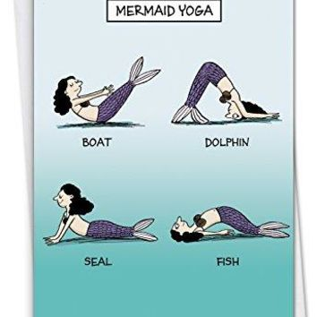 Mermaid Yoga: Humorous Birthday Card, Funny Birthday Card - Free Shipping
