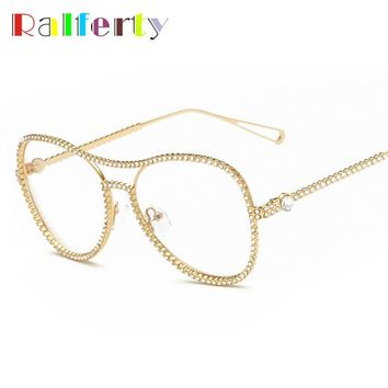 Ralferty Trendy Rhinestone Eyeglass Frame Gold Beaded Transparent Eye Glasses Women Oval Oversized Optic Frames With Clear Lens