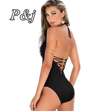 P&j  Swimsuit Women Lady Sexy V-Neck One Peice Padded Split Monokini Bikini Swimwear Beach Dress Navy Suit