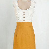 Sleeveless Shift Come in Dandy Dress in Mustard