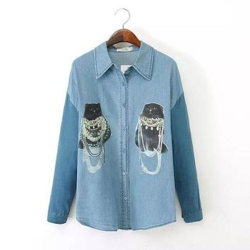 DCCKIX3 Women's Fashion Rinsed Denim Print Long Sleeve Denim Blouse Mosaic Cats Shirt Bottoming Shirt [4918987652]