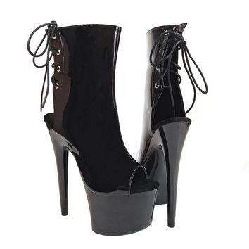 Leecabe Shinny black Women's Platform Sandals Pole Dancing boots 7 Inch High Heels Shoes Nightclub pole Dance boots