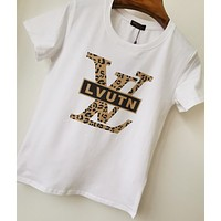 Louis Vuitton LV New Fashion Summer Bust Leopard Letter Print Women Men Top T-Shirt White