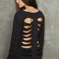 Black slasher cutout sweater