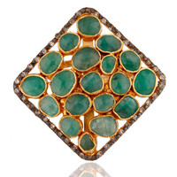 Emerald Gemstone 18ct Gold Plated Vermeil on Sterling Silver Ring With Diamond