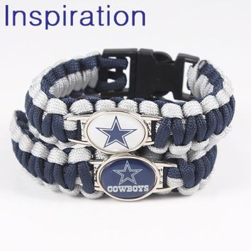 Outdoor Braided Paracord Survival Bracelets Dallas Cowboys Charm Parachute Cord Bracelet Wristband Emergency Rope With Buckle