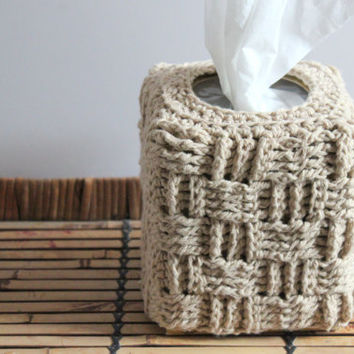 Crochet Basket Weave Tissue Box Cover, Crochet Cozy, Home Decor, Jute Decor, Brown Decor, Tissue Box Cover