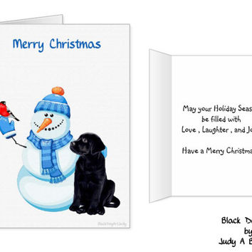 Black Lab Christmas Card - Labrador Holiday Card - Christmas In July - Dog Christmas Card 3 - Black Lab Holiday card - Black Dog Christmas