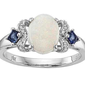 14K White Gold Austrian Opal, Blue Sapphire & Diamond Ring — QVC.com