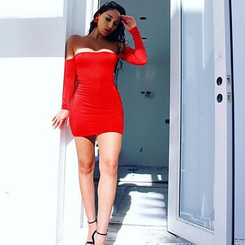 Off Shoulder Lace Up Bodycon Dress