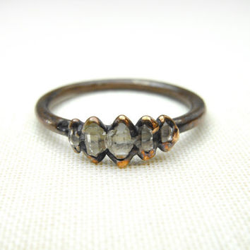 5 STONE HERKIMER RING - Copper Ring - Raw quartz Stone - Herkimer diamond - Small cluster ring