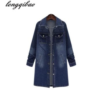 Trendy European and American women's new large size Slim long section of stretch denim windbreaker jacket AL7671 AT_94_13