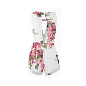 Open Back Chiffon Floral Romper Women's Summer Playsuits Jumpsuit Cute Female Overalls Clothing