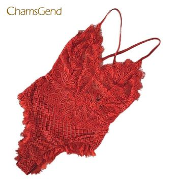 CHAMSGEND 2017 New Fashion Spandex Sexy Pajamas Fashion Women Sexy Lace Backless Bodysuit Red Solid Jumpsuit  JUN07