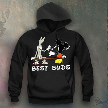 Mickey Smoking A Blunt Hooded Sweatshirt Funny and Music