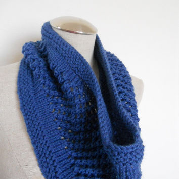 SALE ENDS OCT 1st!! Knit Cowl in blue, neckwarmer, scarf in yarn. Warm and soft for winter Womens Accessory Winter Fashion