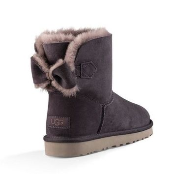 UGG Women Fashion Bow Wool Half Boots Snow Boots Shoes