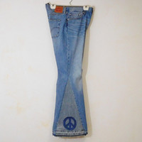 "Levi Bell Bottom Jeans Peace Patch Super Flare Extra Wide Bells High Waisted, 30"" Waist, 70's Hippie Clothes, Upcycled Clothing"