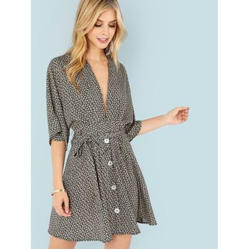 Calico Print Button Up Plunging Neck Dress