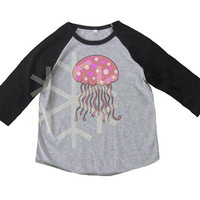 Jellyfish shirt toddler Sea animal tshirt -3/4 sleeve tshirt -Children t shirt -Raglan shirt- Baseball tshirt -Kids tshirts