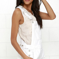Blank NYC White Short Distressed Denim Overalls