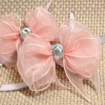 Baby Pink Dog Hair Bows. Light Pink Organza Ribbon Puppy Bows with Crystal Rhinestone Accents White Ribbon with Silver and Hot Pink Elastics