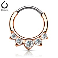 CZ Gold Plated Septum Clicker
