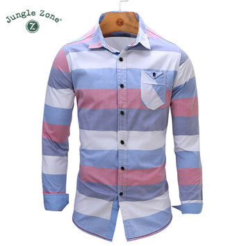 European Size Men's Striped Shirt 100% Cotton Long Sleeve Mens Dress Shirt Casual Denim Style Shirts