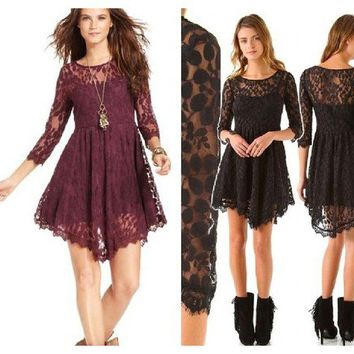 Free People Floral Mesh Lace Dress 5 STAR Reviews Black or Plum 6 or 8 NWT $128