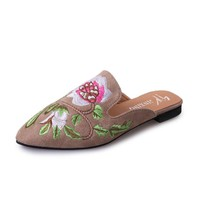 Embroidery Flower Slip On Backless Flat Mules