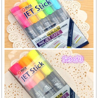 New Arrival! Set of 5 candy color Marker pen, Highlighter crayon for paper working, scrapbook, wedding